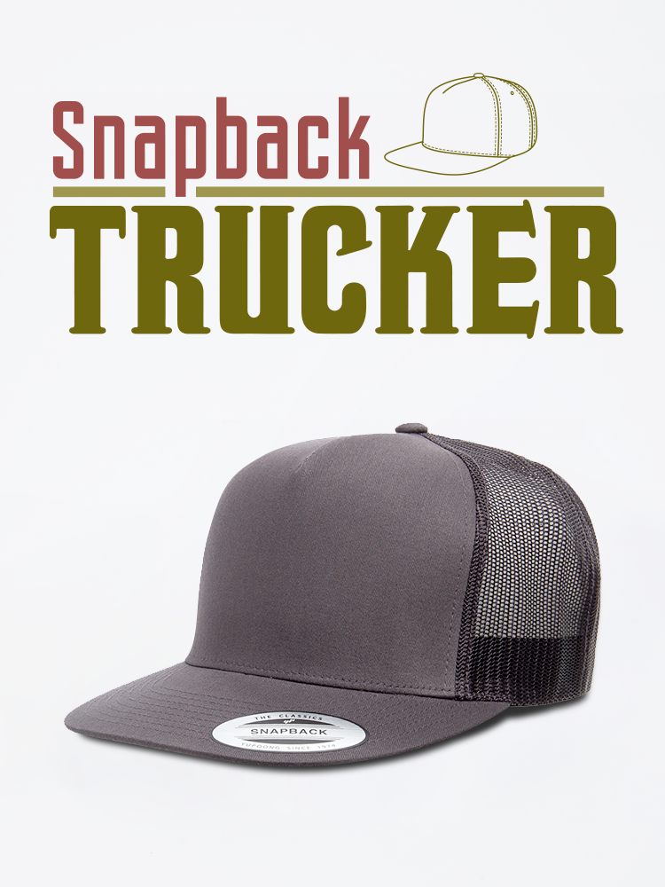 Snapback Trucker Cap Hat Mesh Back Grey
