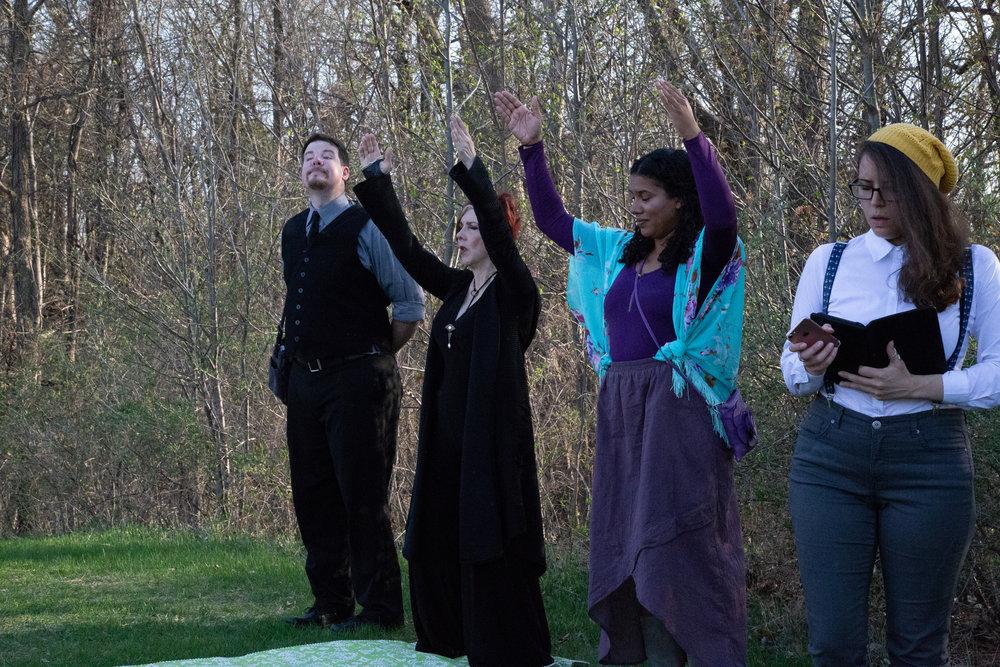 Malvolio (Tom Sorenson), Olivia (Kelli Tatum), Maria (Tia Tanzer) and Christine (Michelle Del)
