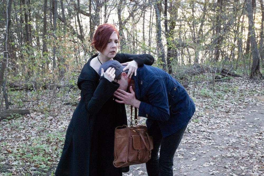 Olivia (Kelli Tatum) comforts Sebastian (Aaron Henry)