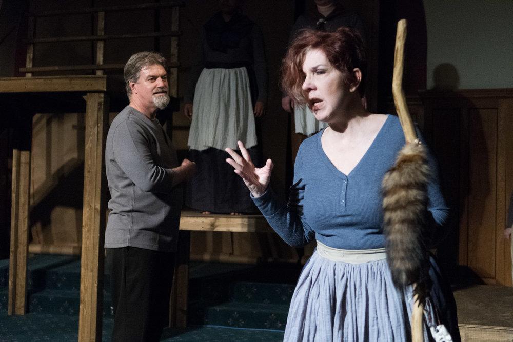 Robb Krueger as Governor Bellingham and Kelli Tatum as Mistress Hibbins