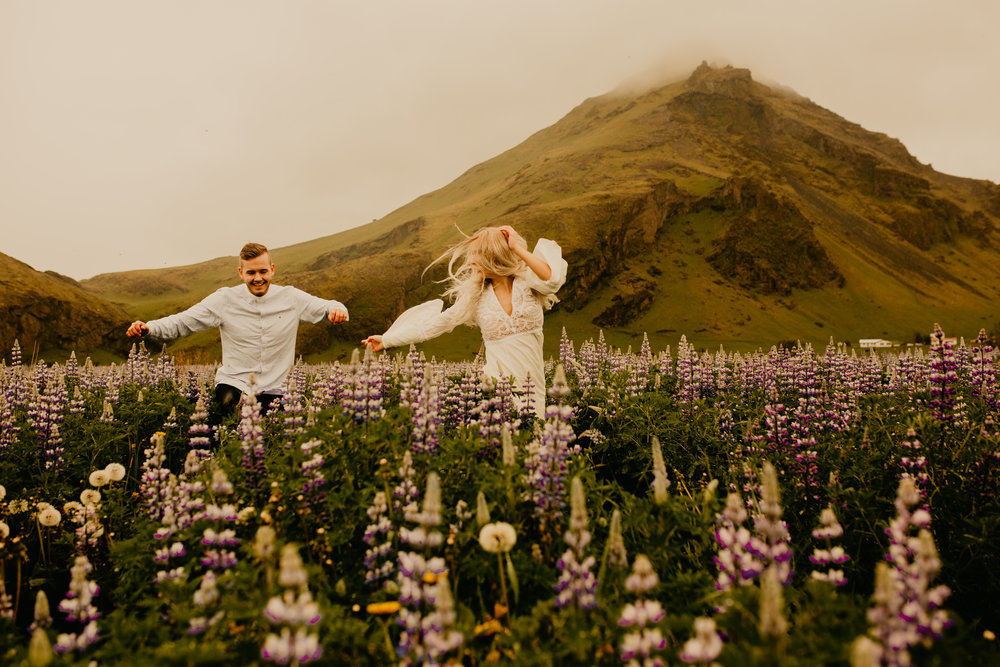 Skogafoss Lupin Field Couple Shoot