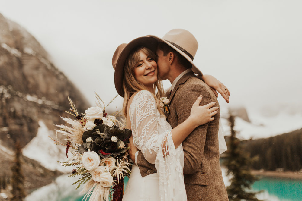 Banff Elopement l Lake Moraine Elopement l Vintage Bolo Tie l Pampas Grass Boho Boquet l Rue Design Wedding Dress l Banff Wedding Photographer l Destination Wedding Photographer l Katy Rose Photo_-161.jpg