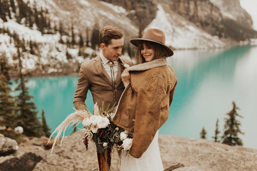 Banff Elopement l Lake Moraine Elopement l Vintage Bolo Tie l Pampas Grass Boho Boquet l Rue Design Wedding Dress l Banff Wedding Photographer l Destination Wedding Photographer l Katy Rose Photo_-22.jpg