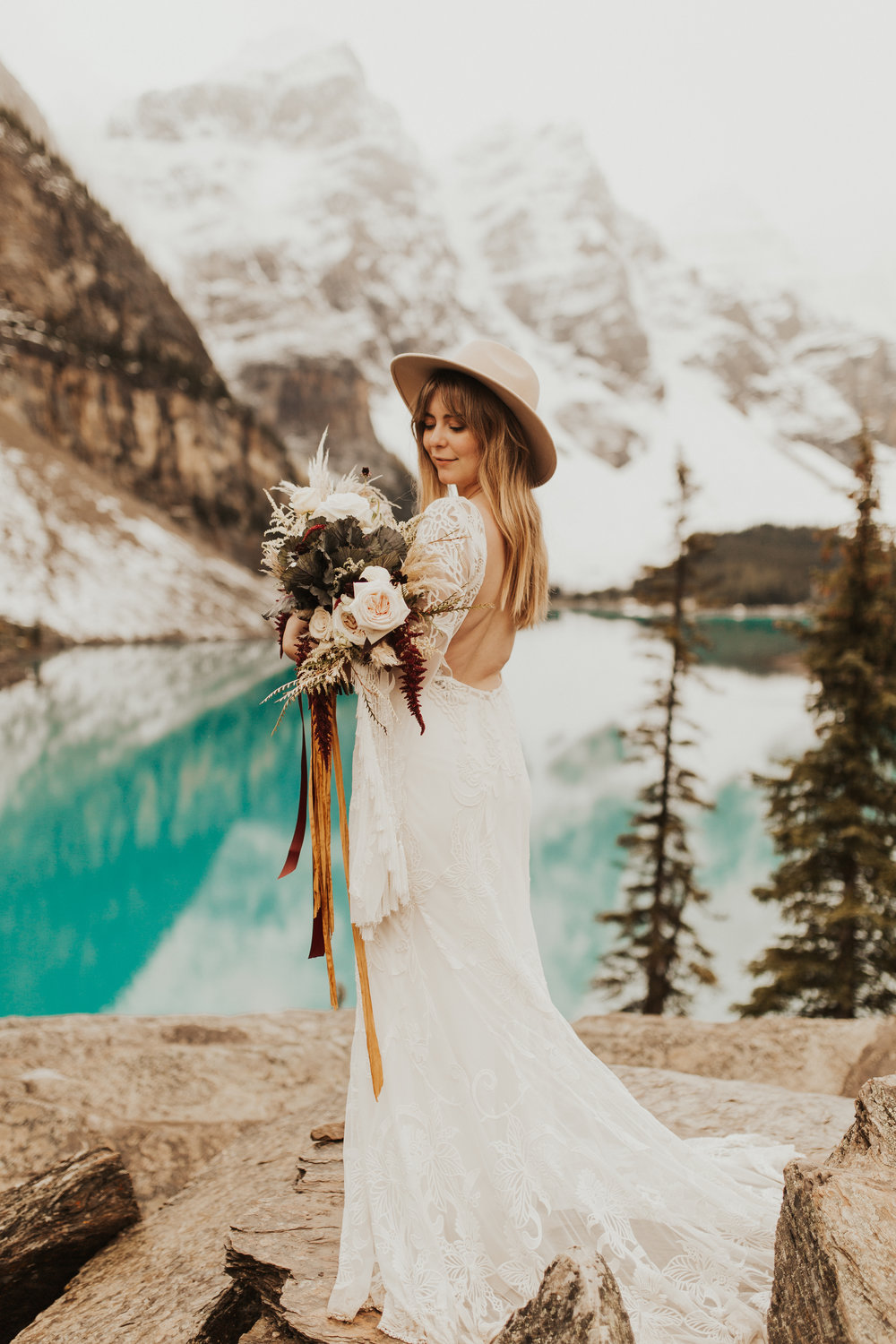 Banff Elopement l Lake Moraine Elopement l Vintage Bolo Tie l Pampas Grass Boho Boquet l Rue Design Wedding Dress l Banff Wedding Photographer l Destination Wedding Photographer l Katy Rose Photo_-28.jpg