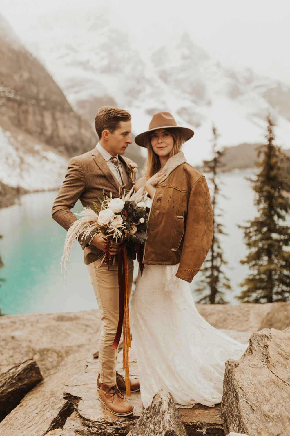 Banff Elopement l Lake Moraine Elopement l Vintage Bolo Tie l Pampas Grass Boho Boquet l Rue Design Wedding Dress l Banff Wedding Photographer l Destination Wedding Photographer l Katy Rose Photo_-56.jpg