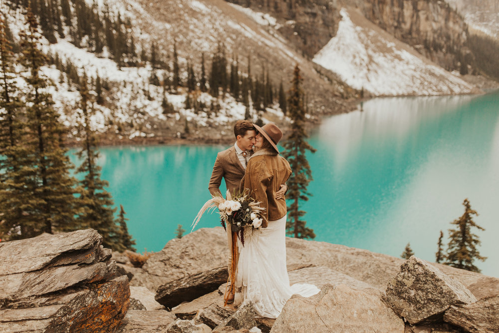 Banff Elopement l Lake Moraine Elopement l Vintage Bolo Tie l Pampas Grass Boho Boquet l Rue Design Wedding Dress l Banff Wedding Photographer l Destination Wedding Photographer l Katy Rose Photo_-77.jpg