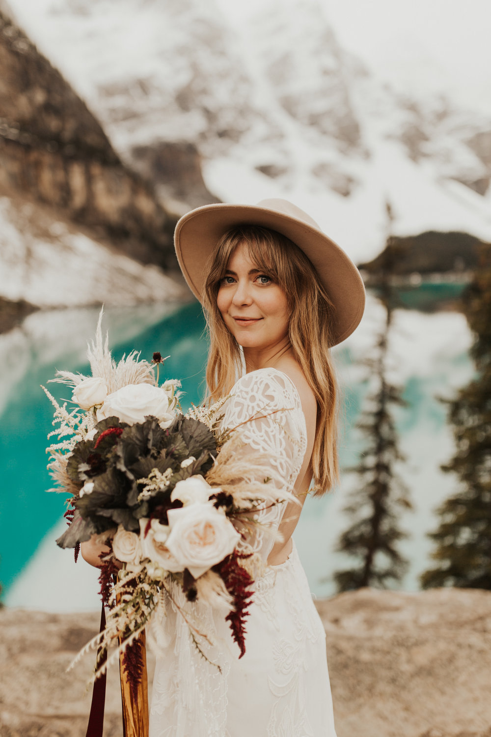 Banff Elopement l Lake Moraine Elopement l Vintage Bolo Tie l Pampas Grass Boho Boquet l Rue Design Wedding Dress l Banff Wedding Photographer l Destination Wedding Photographer l Katy Rose Photo_-26.jpg