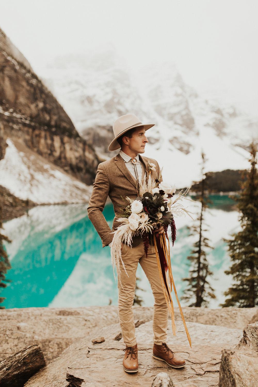 Banff Elopement l Lake Moraine Elopement l Vintage Bolo Tie l Pampas Grass Boho Boquet l Rue Design Wedding Dress l Banff Wedding Photographer l Destination Wedding Photographer l Katy Rose Photo_-14.jpg