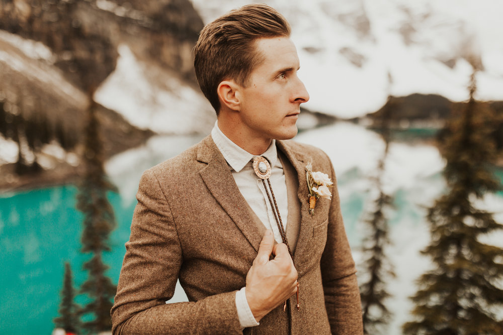 Banff Elopement l Lake Moraine Elopement l Vintage Bolo Tie l Pampas Grass Boho Boquet l Rue Design Wedding Dress l Banff Wedding Photographer l Destination Wedding Photographer l Katy Rose Photo_-17.jpg