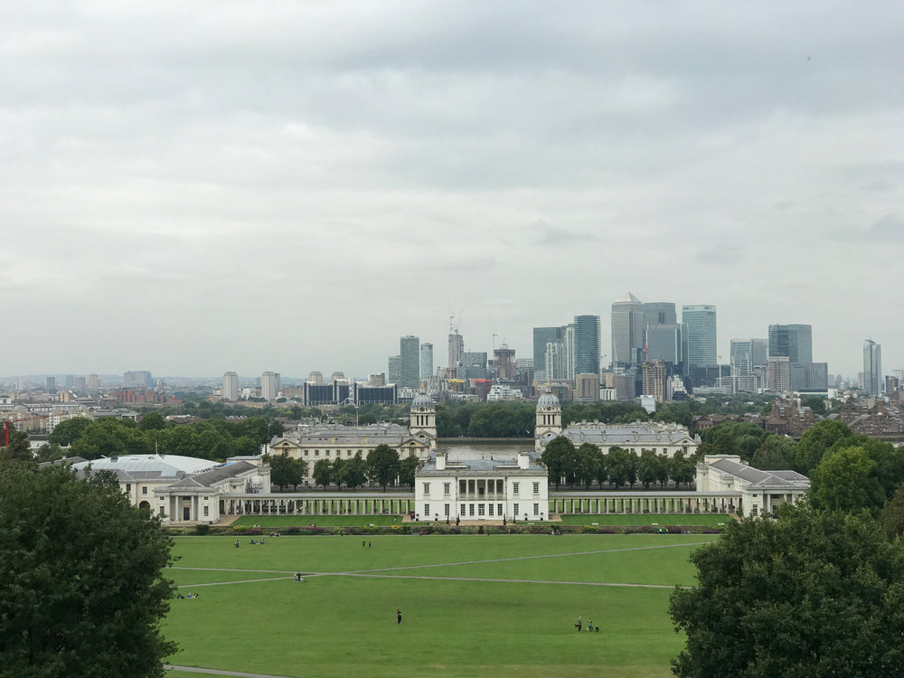 A view of the Queen's House and London from the Royal Observatory in Greenwich.