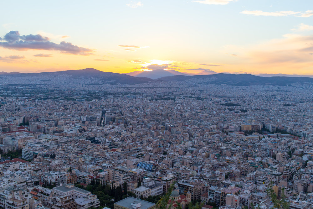 View of Athens from Mt Lycabettus, Greece