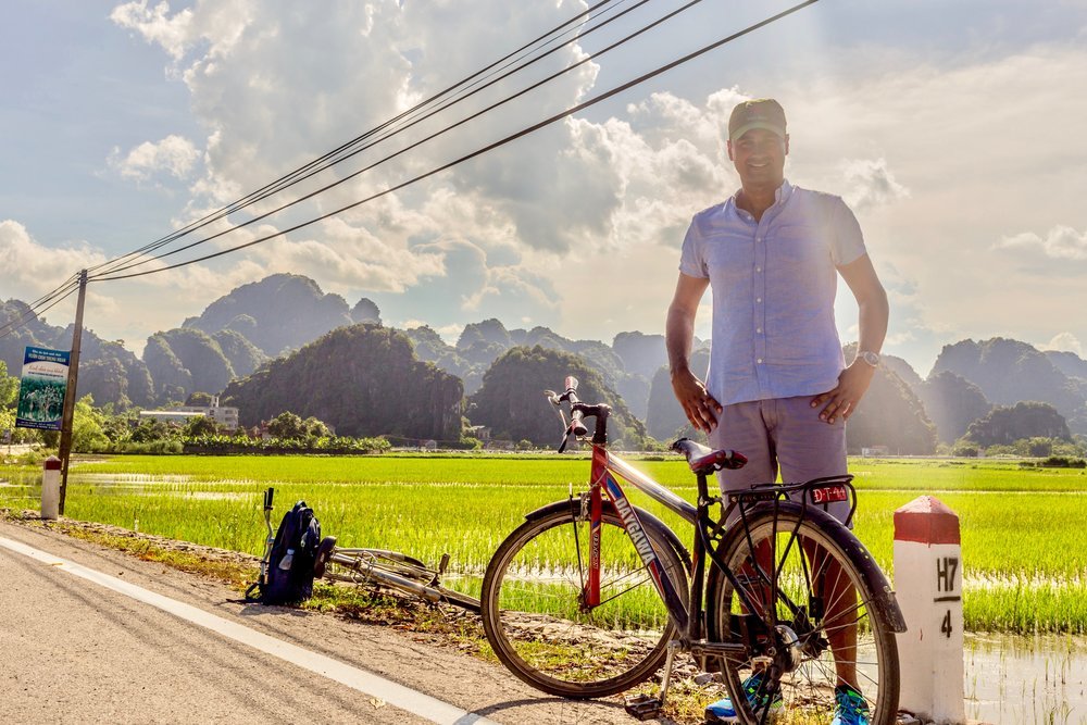 Cycling in Tam Coc, Vietnam