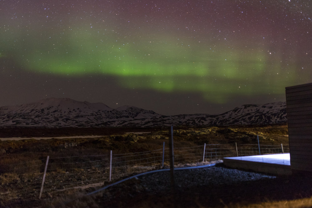 A glimpse of the Northern Lights in Iceland