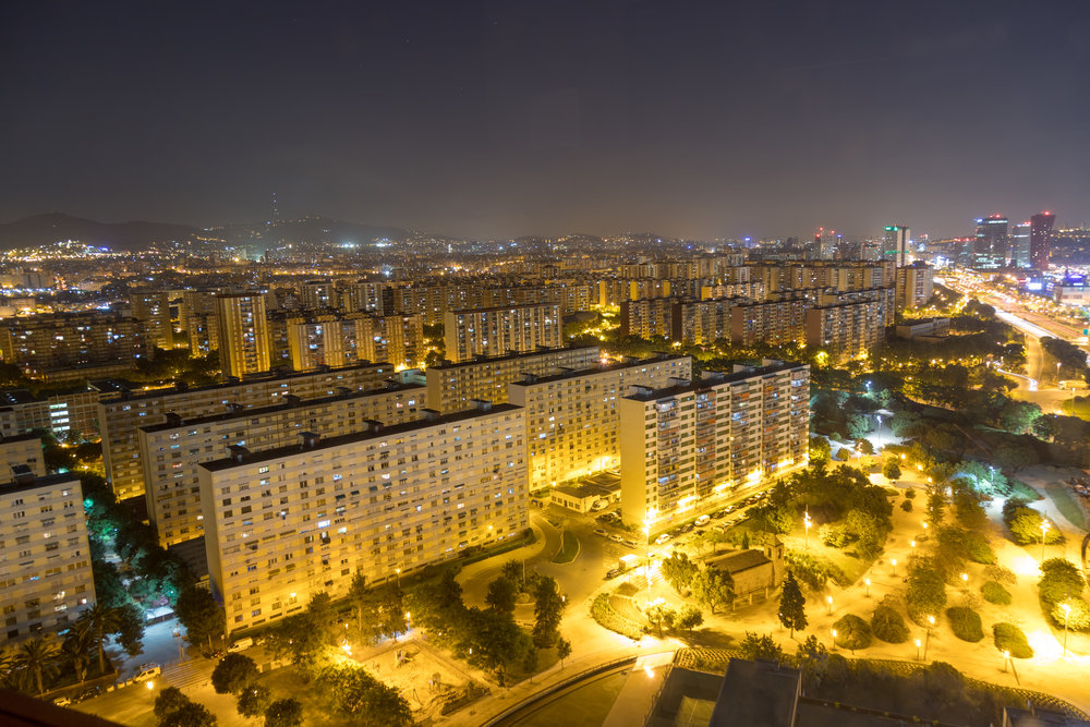 Downtown Barcelona at night
