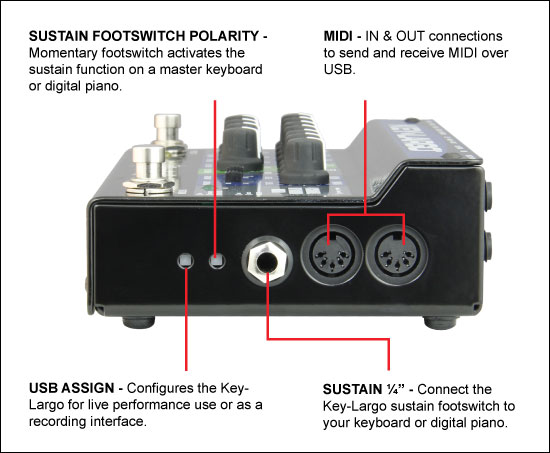 MIDI and sustain pedal functionality are also built in.