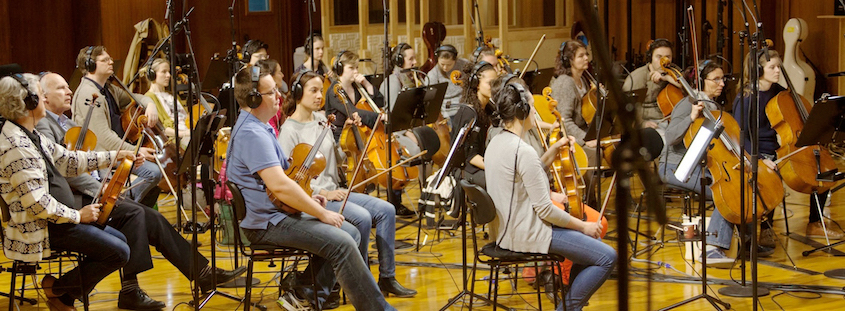 Members of the Synchron Stage Orchestra record at Vienna Symphonic Library headquarters.