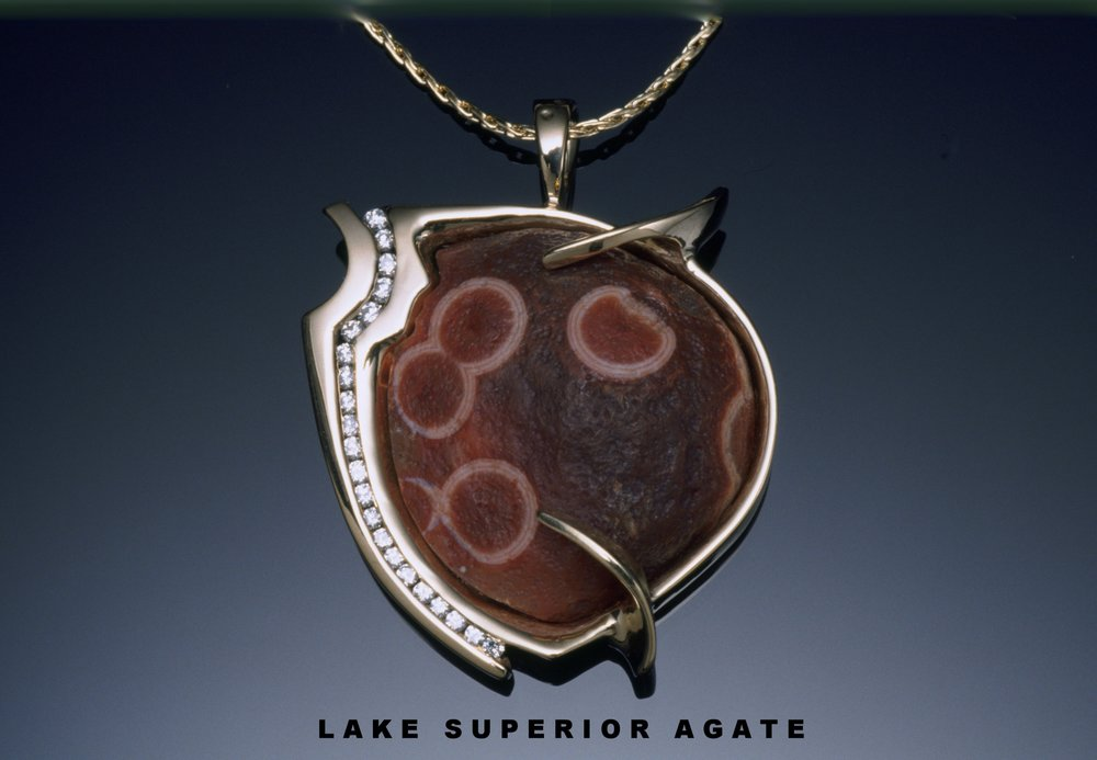 Raw Paradise Beach Lake Superior Agate with diamonds (SOLD)