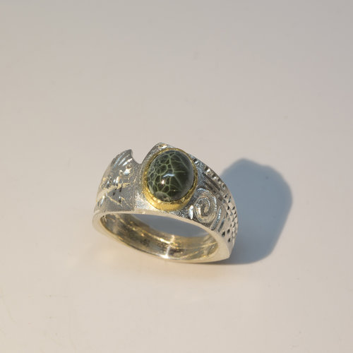 Mens Neo Nordic Isle Royal Greenstone Ring Stephan Hoglund Jewelry