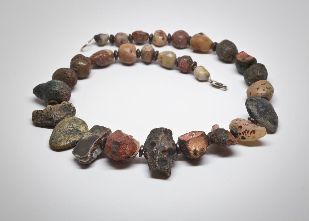 """PARADISE FOUND""  a example of a necklace from a lifetime of collecting raw unpolished natural surface found Paradise Beach agates"