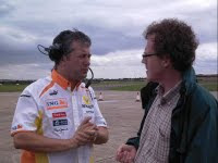 questioning the racing team at Duxford