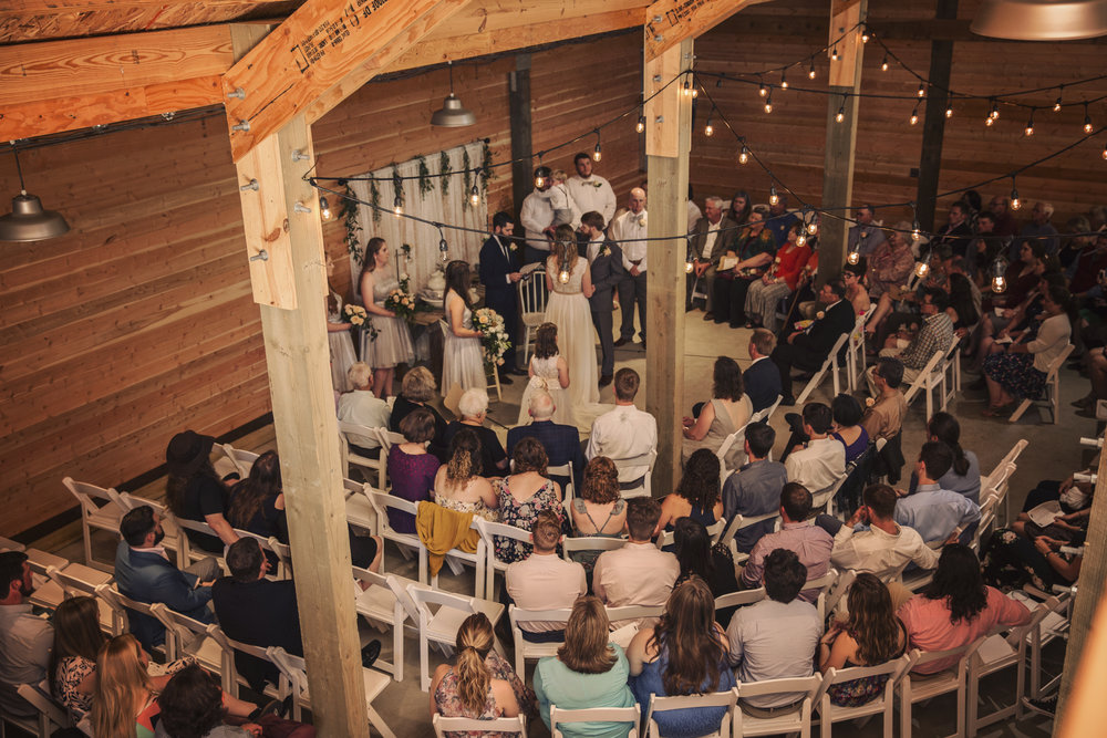 The ceremony took place at Sunflower Oak Farm in Culleoka, Tennessee. There were a number of guests, but the space worked perfectly!