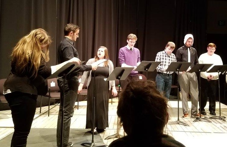 A still from the 2016 staged reading of THE RAT KING...