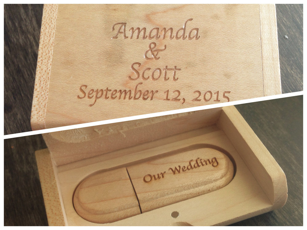 Our custom keepsake USB drive for your wedding photos.