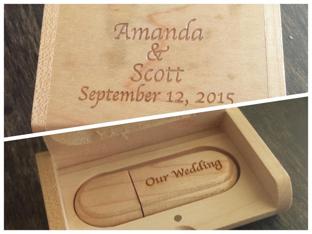Our custom keepsake USB drive for your wedding photos.