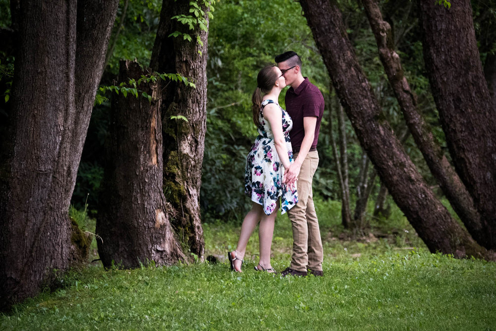 The strength of the trees frames their whimsical kiss. And more tiptoes!