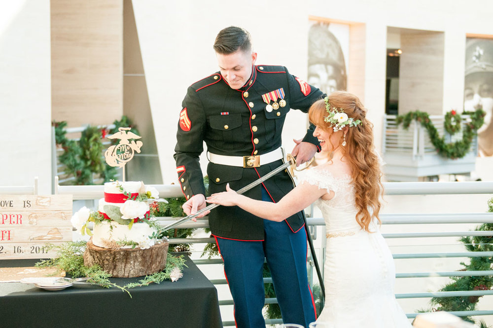 Cutting a cake with a Marine Saber - super cool!!!