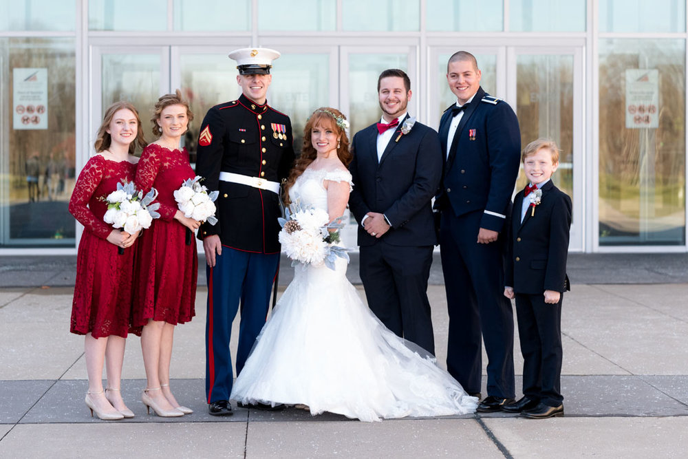 Red, white & blue . . . Air Force, Marines, bride, sisters and little brother too!