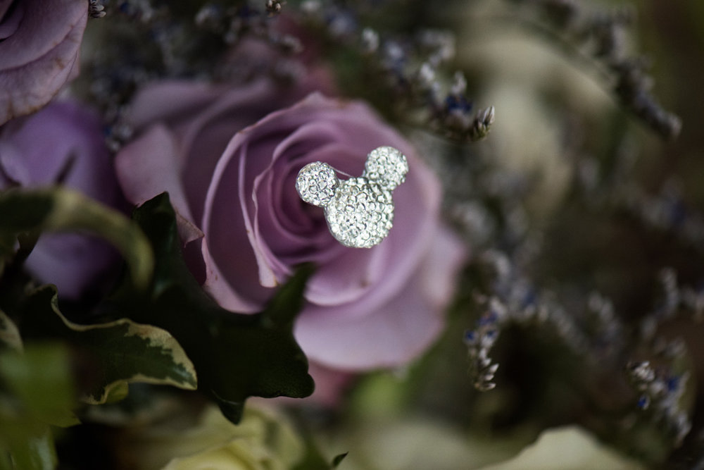 We love subtle details like this Mickey Mouse Icon tastefully inserted into the wedding bouquet.