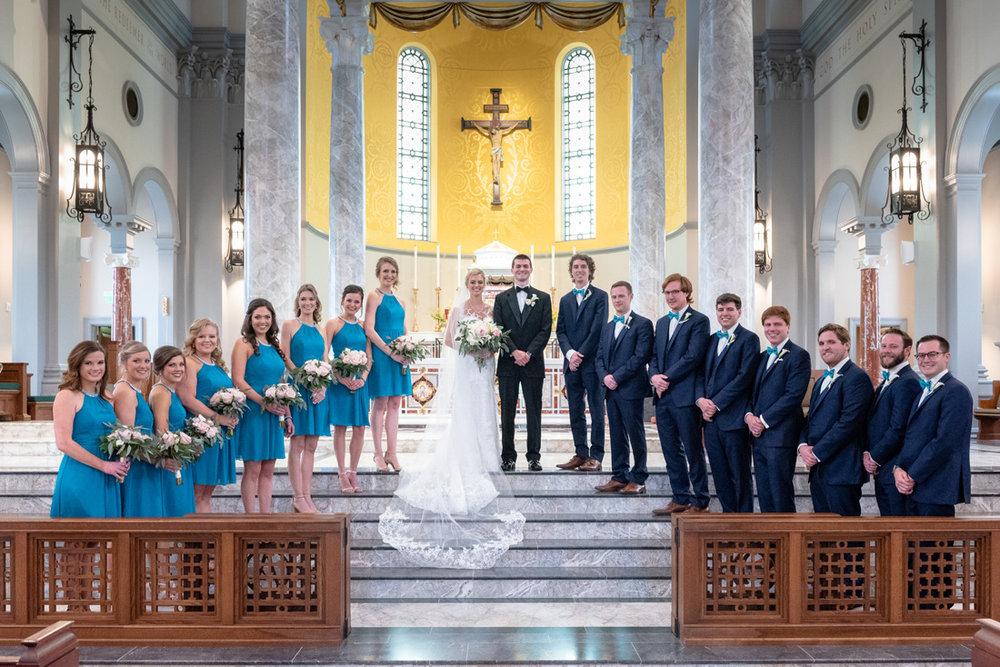 Bridesmaids, the couple & groomsmen.