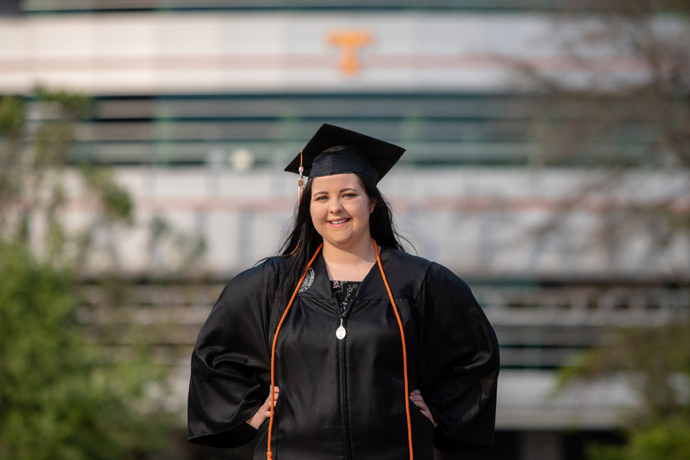 portrait of young lady after University of Tennessee graduation