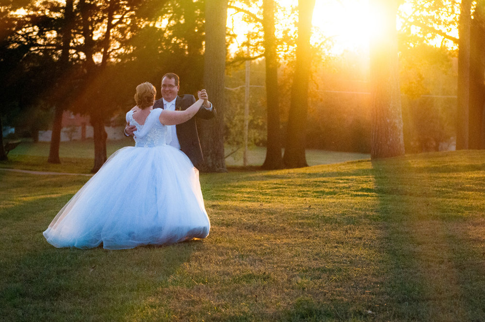 Bride & groom dance in the light of the sunset!!