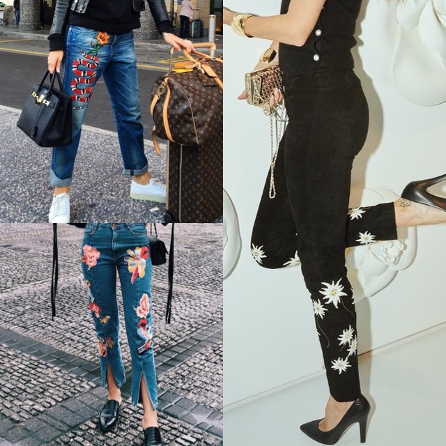 EMBROIDERED JEANS/PANTS & FLARE JEANS- I remembered being forced to wear flare jeans when I was eight and hating them. I also remeber the flower embroidered demin jackets that I mainly wore with everything when I was in Elementary school. And for some reason I am wishing that I never gave them away! Luckly in 2017, this trend will be praised and not given the evil eye.