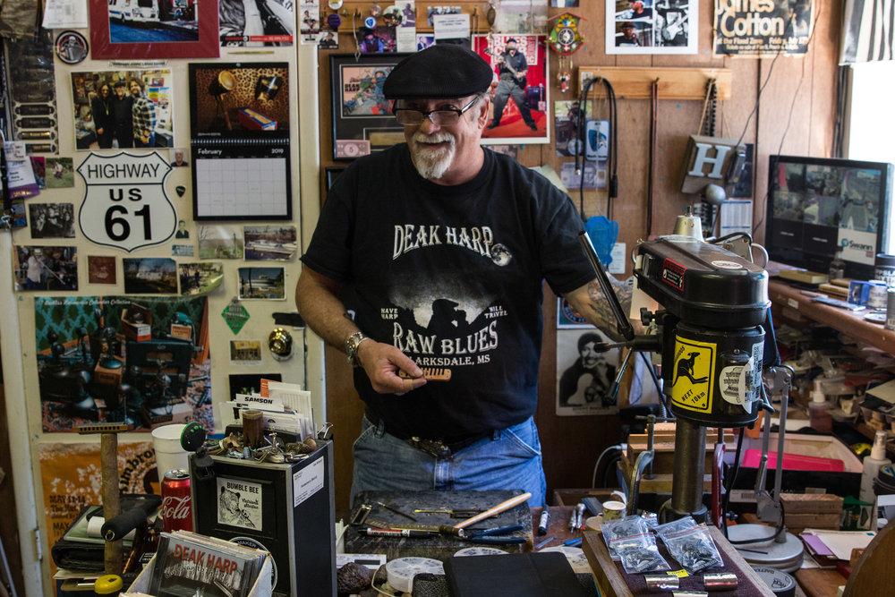 Deak Harp, in his shop (Deak's Mississippi Saxophones & Blues Emporium) in downtown Clarksdale.