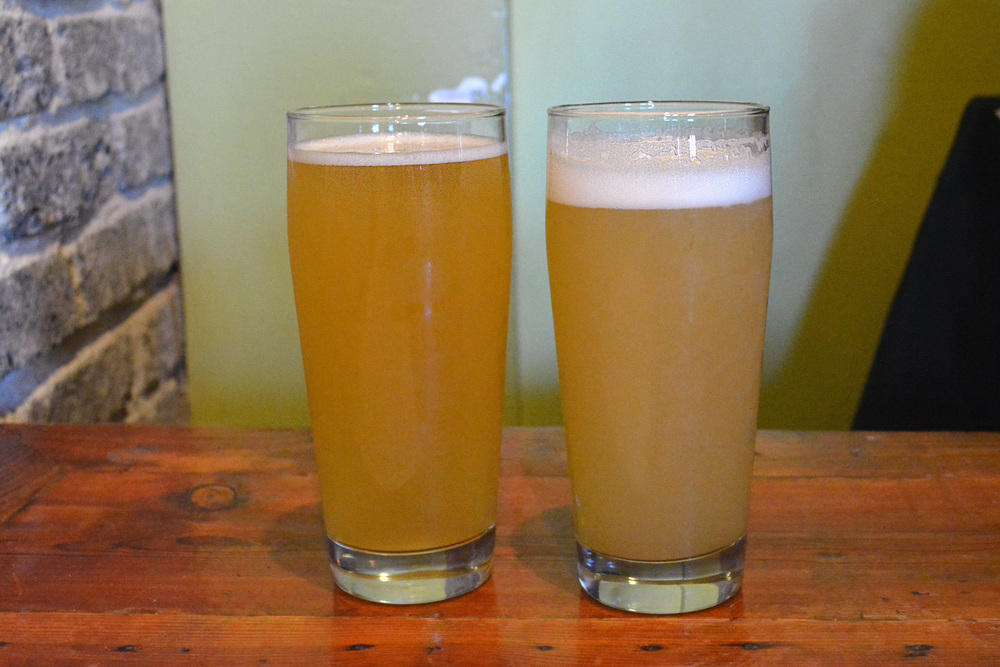 BEST BEERS OF THE DAY: SAISON HANDS & HOP HANDS - YOU CAN SEE HERE WHAT I MEAN ABOUT THE MURKY COLOR ON HOP HANDS.
