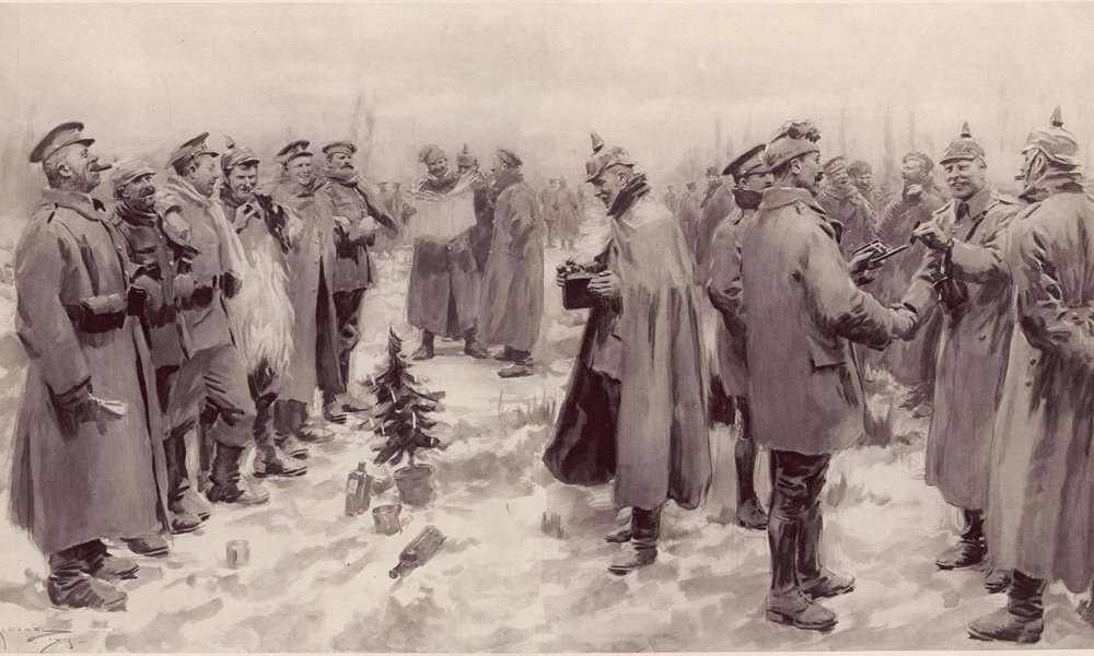 "An artist's impression from   The Illustrated London News   of 9 January 1915: ""British and German Soldiers Arm-in-Arm Exchanging Headgear: A Christmas Truce between Opposing Trenches"""