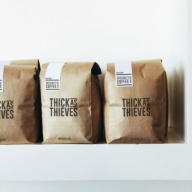 Package design for Thick As Thieves coffee. ☕️ . . . . #boisegraphicdesigner #boise #graphicdesign #logo #idahographicdesigner #logodesigns #branding #dslooking #logoinspiration #logobag #brandidentity #aiga #behance #girlboss