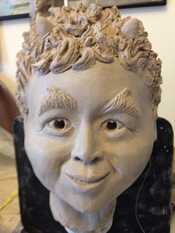 "Portrait Sculpture in white clay: ""Forest Sprite"""