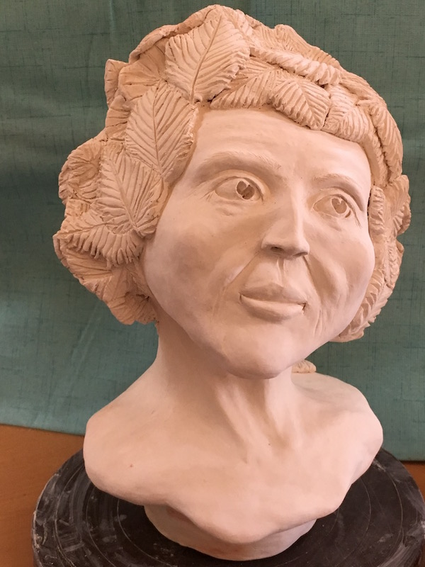 "Portrait Sculpture in white clay: ""Medicine Woman"""