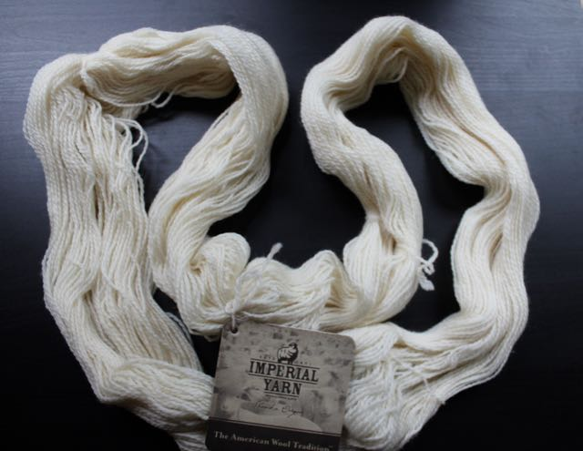 Loosely wound yarn is necessary for even saturation.  Note: I buy my wool from Imperial Yarn, an Oregon ranch that produces beautiful yarn. I am not affliated with them, but I do like to support American producers.