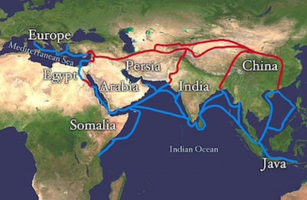 Blue - Spice route          Red - Silk route                  Photo: Wikimedia Commons