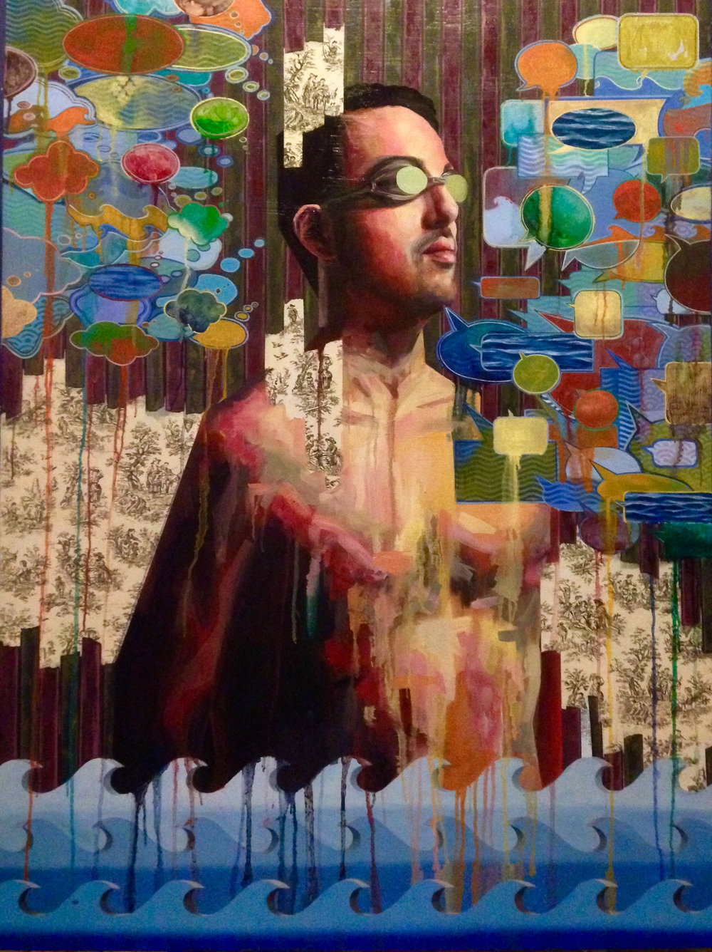 "Coverings in Conversation  | acrylic, oil, aerosol, pen & ink on canvas | 48"" x 36"""