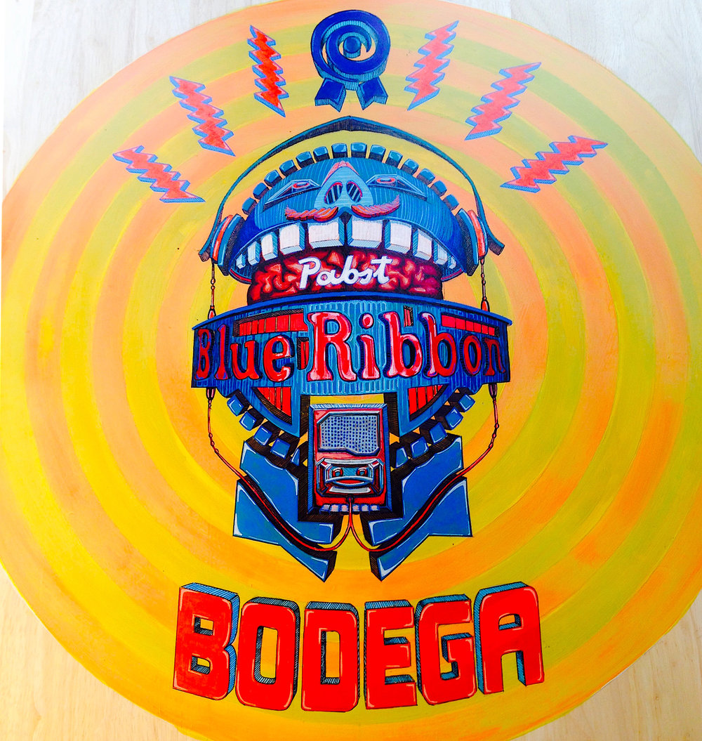 "PBR Music Head  | acrylic on table top surface | 36"" in diameter 