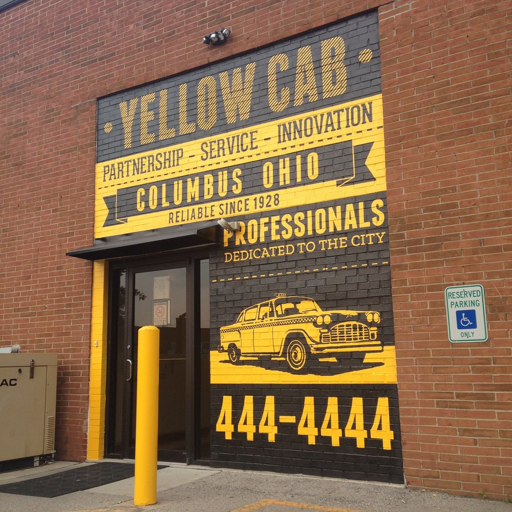 Hand Painted Informational Mural  | Collaboration with Andrew Kern | Oil-Based Enamel | Yellow Cab Company | Columbus, OH