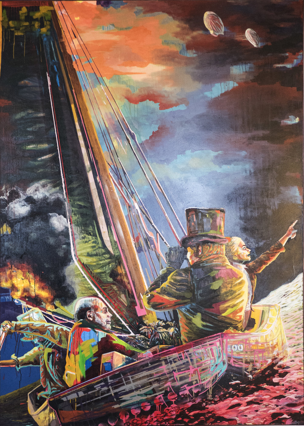 Morning Skies  | oil, aerosol on canvas | 9' x 6' (SOLD)