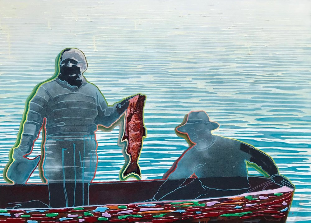 "Untitled  | oil & aerosol on canvas | 46"" x 60"""