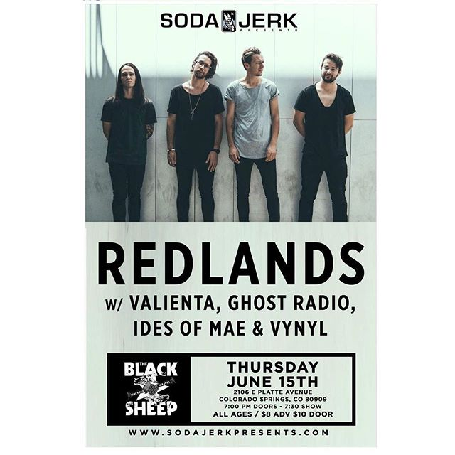 June 15th @theblacksheep. We can't wait to play with some of our favorite bands @weareredlands @valientaband @ghostradioofficial @vynyltheband
